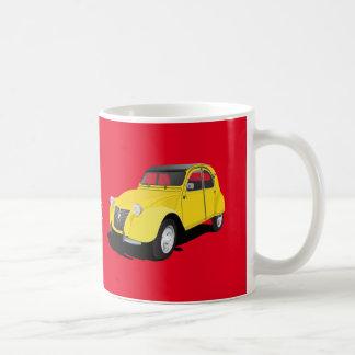 Citroën 2CVの黄色- diyマグ コーヒーマグカップ
