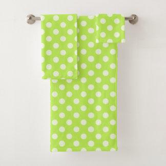 Citrus Green Polka Dot Towel Set バスタオルセット