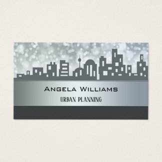 City Planning Skyline Silver Grey Business Card 名刺