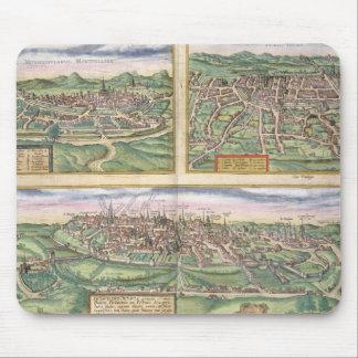 「Civからのモンペリエ、旅行、およびポアティエの地図、 マウスパッド