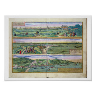 「Civitatesからのセヴィル、カディスおよびマラガの地図、 ポスター