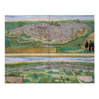 「Civitates Orbiからのトレドそしてバリャドリドの地図、 ポストカード