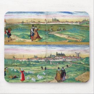 「Civitates Orbisからのオルレアンそしてブールジュの地図、 マウスパッド