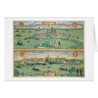 「Civitates Orbisからのロッテルダムそしてゴーダの地図、 カード