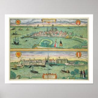 「Civitates Orbisからのロッテルダムそしてゴーダの地図、 ポスター