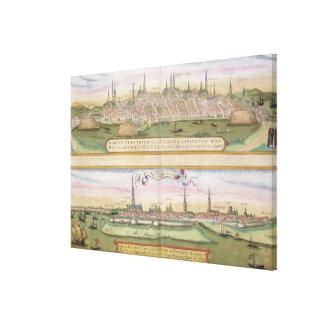 「Civitates Orbis Tからのリューベックそしてハンブルクの地図、 キャンバスプリント