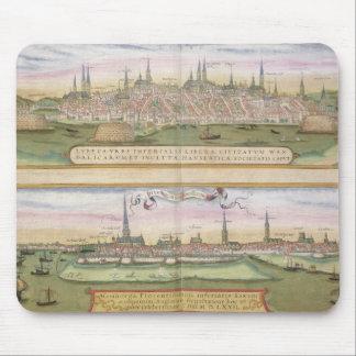 「Civitates Orbis Tからのリューベックそしてハンブルクの地図、 マウスパッド