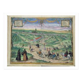 「Civitates Orbis Terrarからのセヴィルの市街地図、 ポストカード
