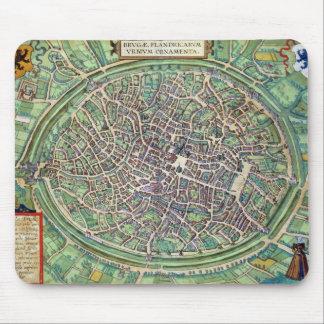 「Civitates Orbis Terraruからのブリュージュの市街地図、 マウスパッド