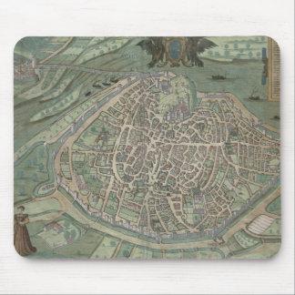 「Civitates Orbis Terrarum」からのアビニョンの地図、 マウスパッド