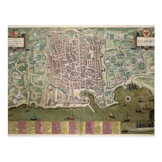 「Civitates Orbis Terrarum」からのパレルモの地図、 ポストカード