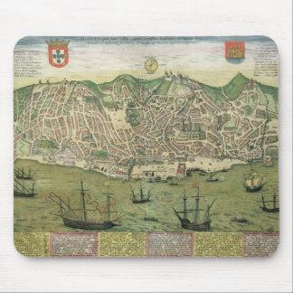 「Civitates Orbis Terrarum」からのリスボンの地図、 マウスパッド