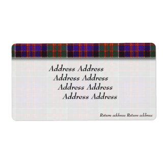 Clanranalldの格子縞のスコットランド人のタータンチェックのMacdonald ラベル