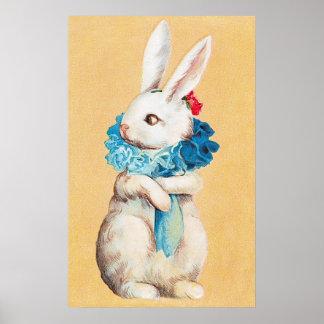 Clapsaddle: エリマキシギを持つイースターのウサギの女の子 ポスター