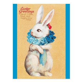 Clapsaddle: エリマキシギを持つイースターのウサギの女の子 ポストカード