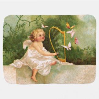 Clapsaddle: ハープを演奏する天使 ベビー ブランケット