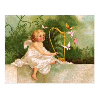 Clapsaddle: ハープを演奏する天使 ポストカード