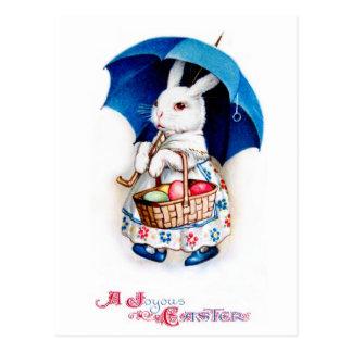 Clapsaddle: 傘を持つイースターのウサギの女の子 ポストカード