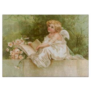 Clapsaddle: 本および花との天使 カッティングボード