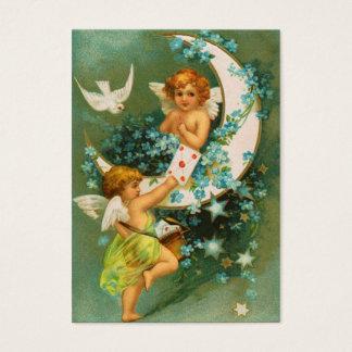 Clapsaddle: 鎌の月の2匹の天使 名刺