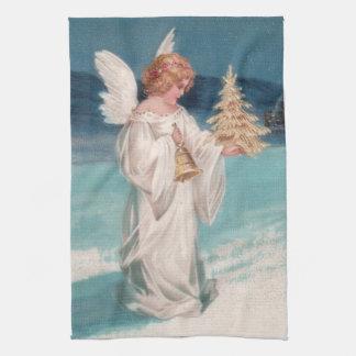 Clapsaddle: 鐘とのクリスマスの天使 キッチンタオル