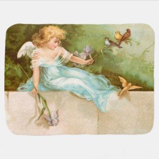 Clapsaddle: 鳥と遊ぶ天使 ベビー ブランケット