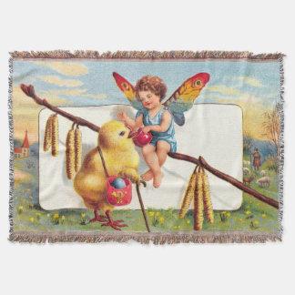 Clapsaddle: 鶏を持つイースター妖精 スローブランケット