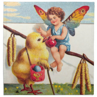 Clapsaddle: 鶏を持つイースター妖精 ナプキンクロス