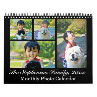 Classic Black Collage Custom Photo Monthly カレンダー