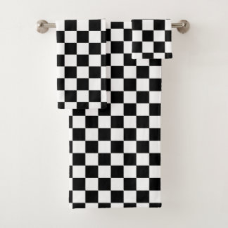 Classic Checkered Racing Sport Check Black White バスタオルセット
