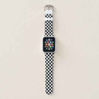 Classic Checkered Racing Sport Check Black White Apple Watchバンド