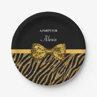 Classlyの金ゴールドのシマウマのプリントの名前の模造のな輝きの弓 ペーパープレート