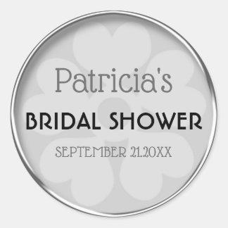 Classy Silver Bridal Shower Favor ラウンドシール