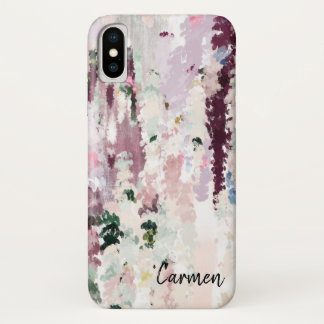 Classy Watercolor Paint Brush Strokes Personalized iPhone X ケース