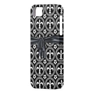CLASSYFrenchの(紋章の)フラ・ダ・リIPHONE 5カバー黒い弓 iPhone SE/5/5s ケース