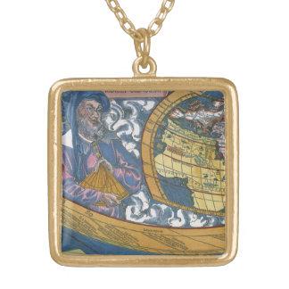 Claudiusクラウディオス・プトレマイオス1507年が付いている旧式な世界地図 ゴールドプレートネックレス