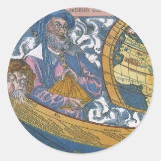 Claudiusクラウディオス・プトレマイオス1507年が付いている旧式な世界地図 ラウンドシール
