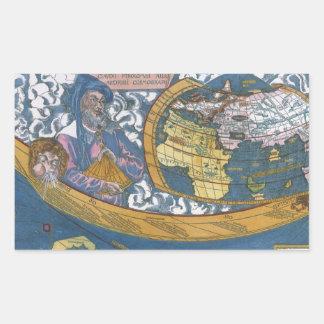 Claudiusクラウディオス・プトレマイオス1507年が付いている旧式な世界地図 長方形シール