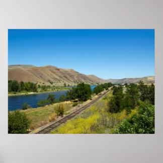 Clearwaterの川およびBG&CMの鉄道線路、アイダホ ポスター
