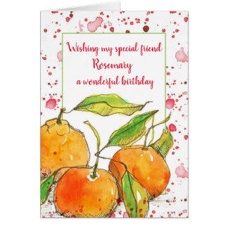 Clementines Fruit Happy Birthday Friend Custom カード
