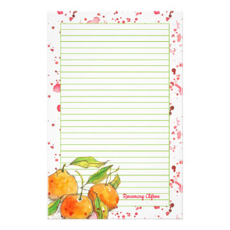 Clemetines Fruit Monogram Lined Letter Writing 便箋