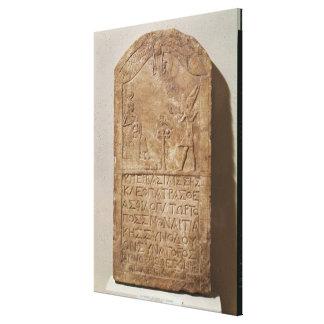 Cleopatraを描写するIsisに専用されている石碑 キャンバスプリント