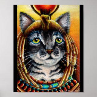 Cleopatra猫のエジプト人のPharoahのファンタジーの芸術ポスター ポスター
