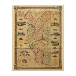 Clermont郡オハイオ州(1857年)の地図 ウッドウォールアート