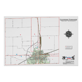 Clintoniaの町区の区域の地図 ポスター