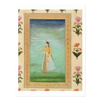 Cliveの小さいアルバムからの花を、握っている女性 ポストカード