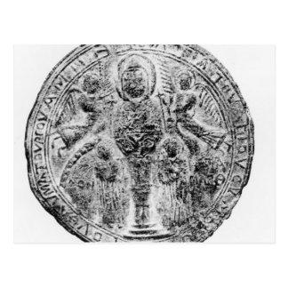 cloisonneの技術で飾られる円形浮彫り ポストカード