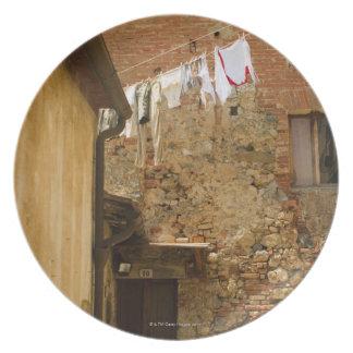 clotheslineで乾燥するためにつるす衣服 プレート