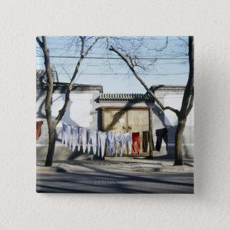 Clotheslinesの洗濯の乾燥 5.1cm 正方形バッジ