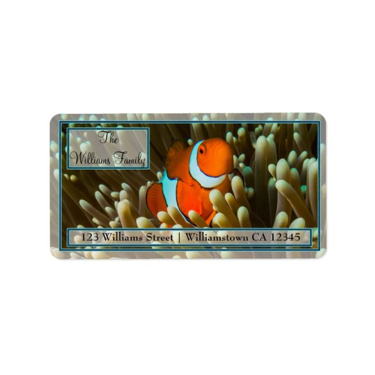 Clownfishかわいいグレート・バリア・リーフの珊瑚海 ラベル